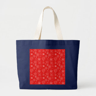White Snowflakes on Christmas Red Large Tote Bag
