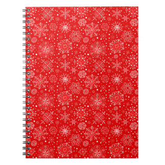 White Snowflakes on Christmas Red Notebook