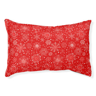White Snowflakes on Christmas Red Pet Bed