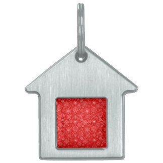 White Snowflakes on Christmas Red Pet ID Tag