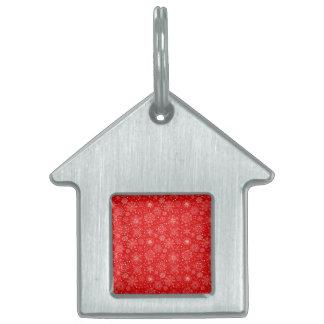White Snowflakes on Christmas Red Pet Tag