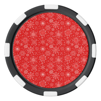 White Snowflakes on Christmas Red Poker Chips