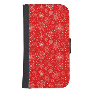 White Snowflakes on Christmas Red Samsung S4 Wallet Case