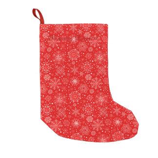 White Snowflakes on Christmas Red Small Christmas Stocking