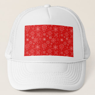 White Snowflakes on Christmas Red Trucker Hat