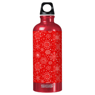 White Snowflakes on Christmas Red Water Bottle