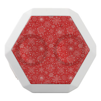 White Snowflakes on Christmas Red White Bluetooth Speaker