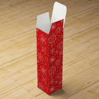 White Snowflakes on Christmas Red Wine Box