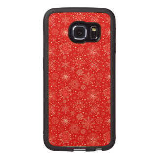 White Snowflakes on Christmas Red Wood Phone Case