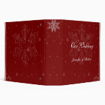 White Snowflakes on Cranberry Background 3 Ring Binders