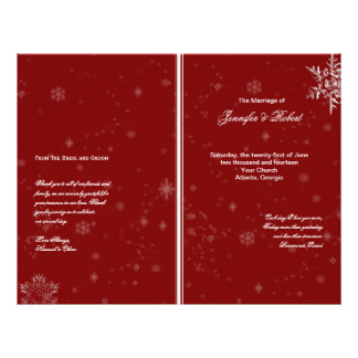 White Snowflakes on Cranberry Wedding Program