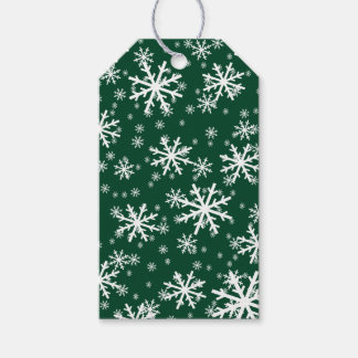 White Snowflakes on Dark Evergreen Green Pack Of Gift Tags