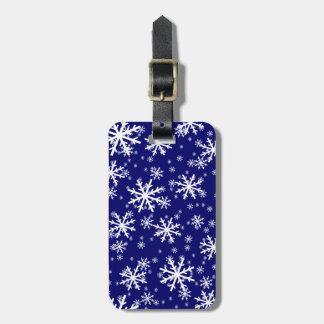 White Snowflakes on Dark Navy Blue Luggage Tag