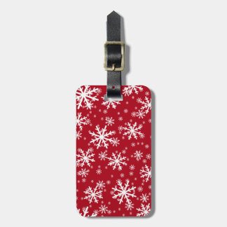 White Snowflakes on Dark Red Luggage Tag