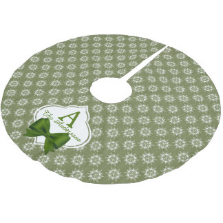 White Snowflakes on Green with Ribbon Monogram Brushed Polyester Tree Skirt