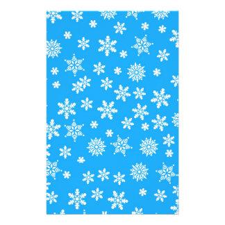 White Snowflakes on Light Blue  Background Stationery Design