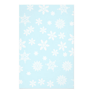 White Snowflakes on Light Blue  Background Stationery Design