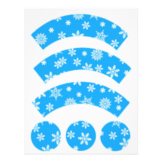 White Snowflakes on Light Blue  Cupcake Liners Customized Letterhead