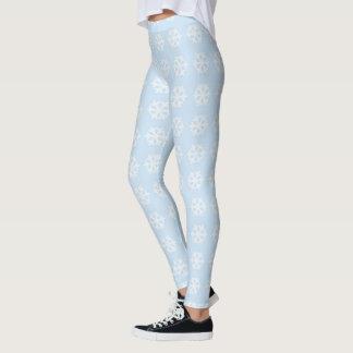 White Snowflakes on Light Blue Leggings