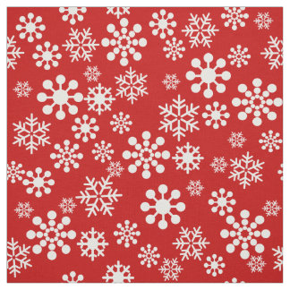 White snowflakes on red background Fabric