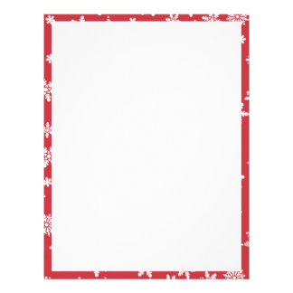 White Snowflakes on Red Background Letterhead Design