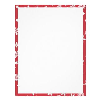 White Snowflakes on Red Background Letterhead Design