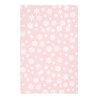 White Snowflakes on Red Background Stationery Design