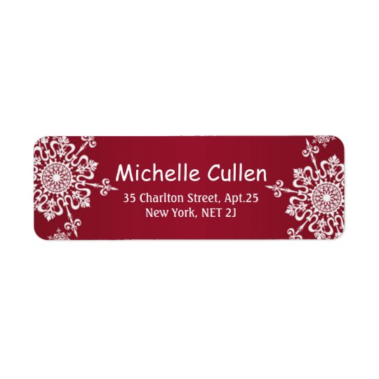 White snowflakes on red Christmas Address Labels