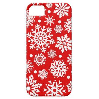White snowflakes on red iPhone 5 covers
