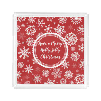 White snowflakes on red Monogrammed Acrylic Tray