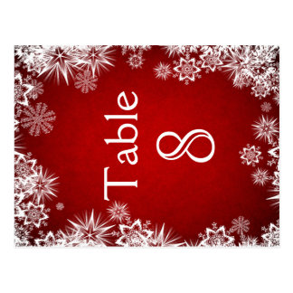 White snowflakes on red Table number card Postcard