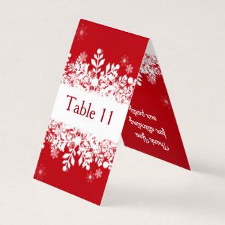 White snowflakes on red Table number, place card