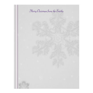 White Snowflakes on Silver with Purple Accents Custom Letterhead