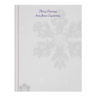 White Snowflakes on Silver with Purple Background Letterhead Template