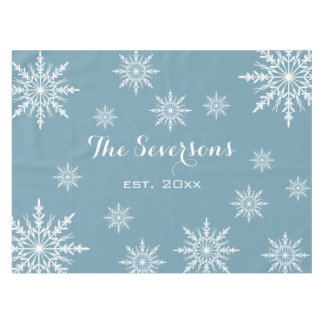 White Snowflakes on Slate Blue Winter Holiday Tablecloth