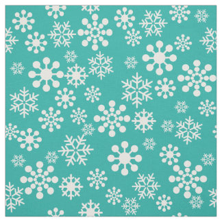 White snowflakes on tarquoise background Fabric