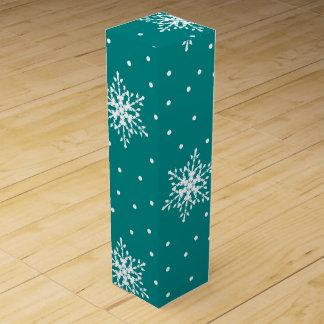 White Snowflakes, Polka Dots on Deep Teal Blue Wine Gift Box