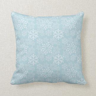 White Snowflakes Throw Pillow
