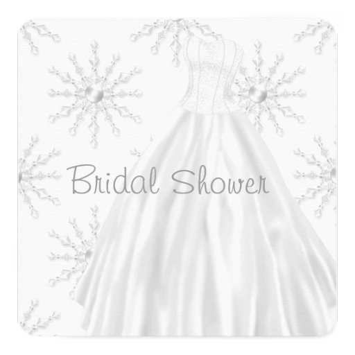 "White Snowflakes Wedding Dress Bridal Shower 5.25"" Square Invitation Card"