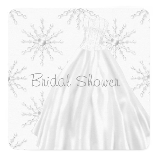 "White Snowflakes Wedding Dress Bridal Shower 5.25"" Square Invitation Card"
