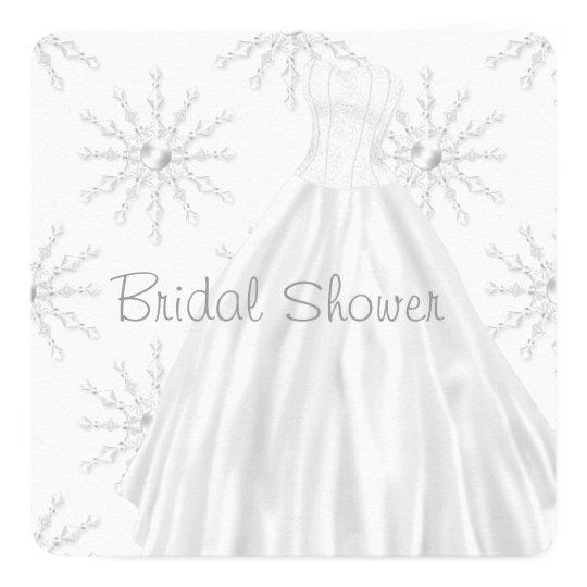 White Snowflakes Wedding Dress Bridal Shower Card