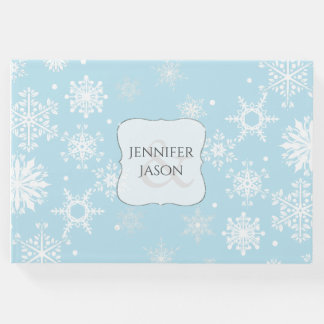 White Snowflakes Winter Wedding Guest Book
