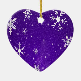 White Snowflakes with Blue-Purple Background Ceramic Heart Ornament