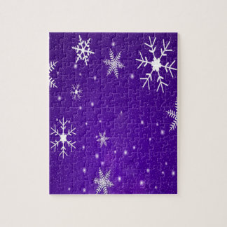 White Snowflakes with Blue-Purple Background Puzzle