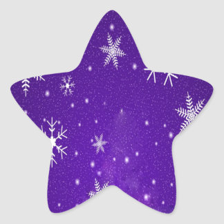 White Snowflakes with Blue-Purple Background Star Sticker