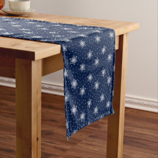 White Snowflakes with Polka Dots Medium Table Runner