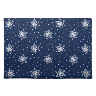 White Snowflakes with Polka Dots Place Mats