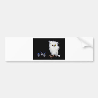 White snowy owl figurine with silver christmas bumper sticker