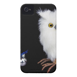White snowy owl figurine with silver christmas Case-Mate iPhone 4 case