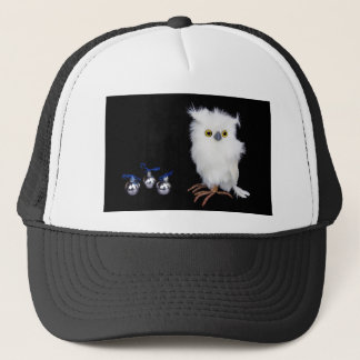 White snowy owl figurine with silver christmas trucker hat